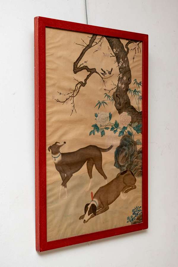 Large Italian 40's printed painted of dogs, Japanese style