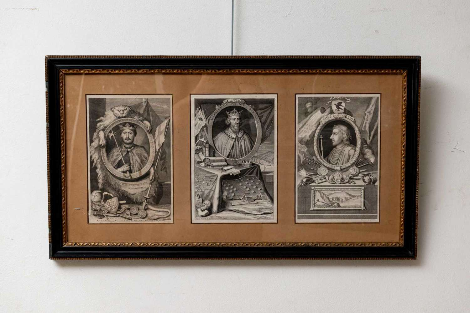 Rectangular framed (3) C19th Engravings of Kings