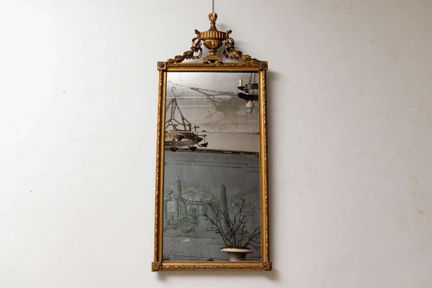 Large pier gilt mirror C19th some repair to top