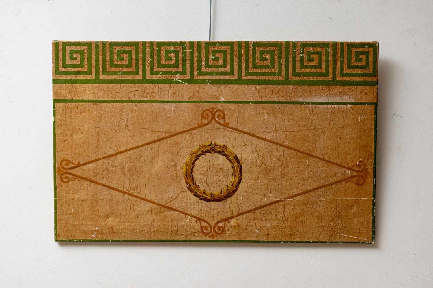 Decorative oil painting, with Greek key detail, remounted