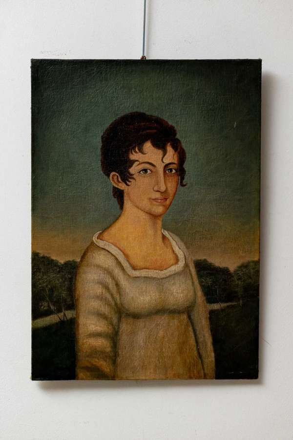 Charming C19th Portrait oil of a young girl