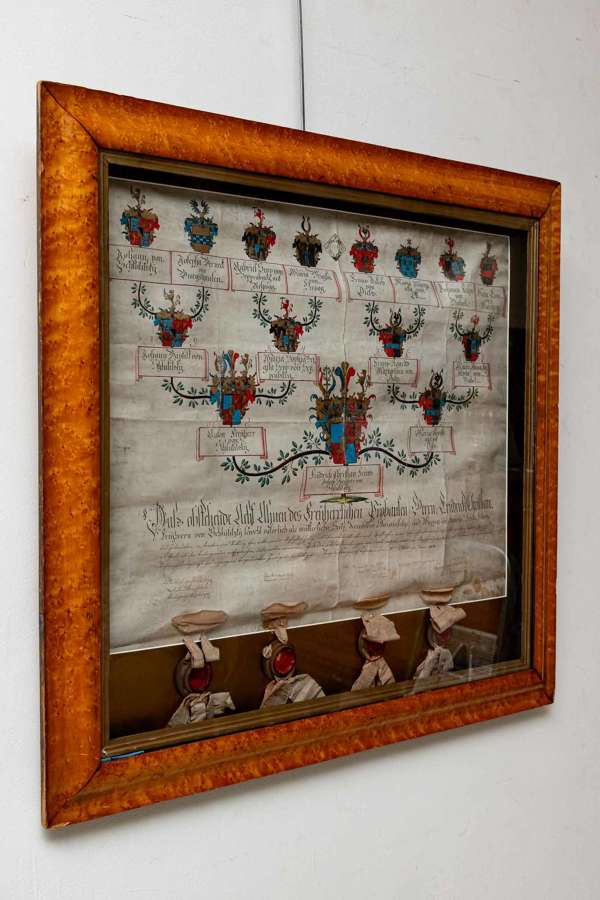 German Heraldic history, Circa 1800's, glass framed in maple wood