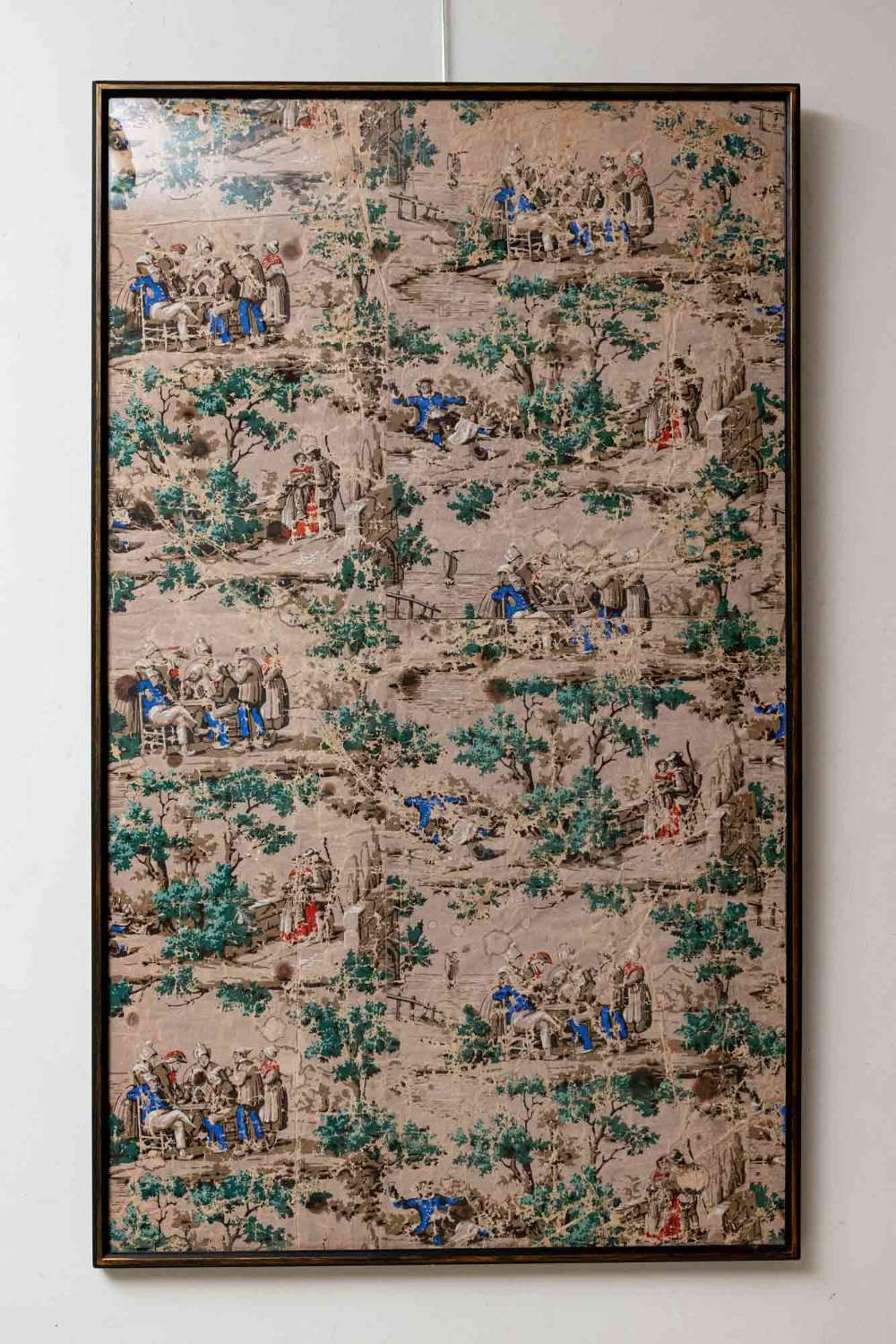 Dutch C19th painted wallpaper, backed on old hessian, newly framed