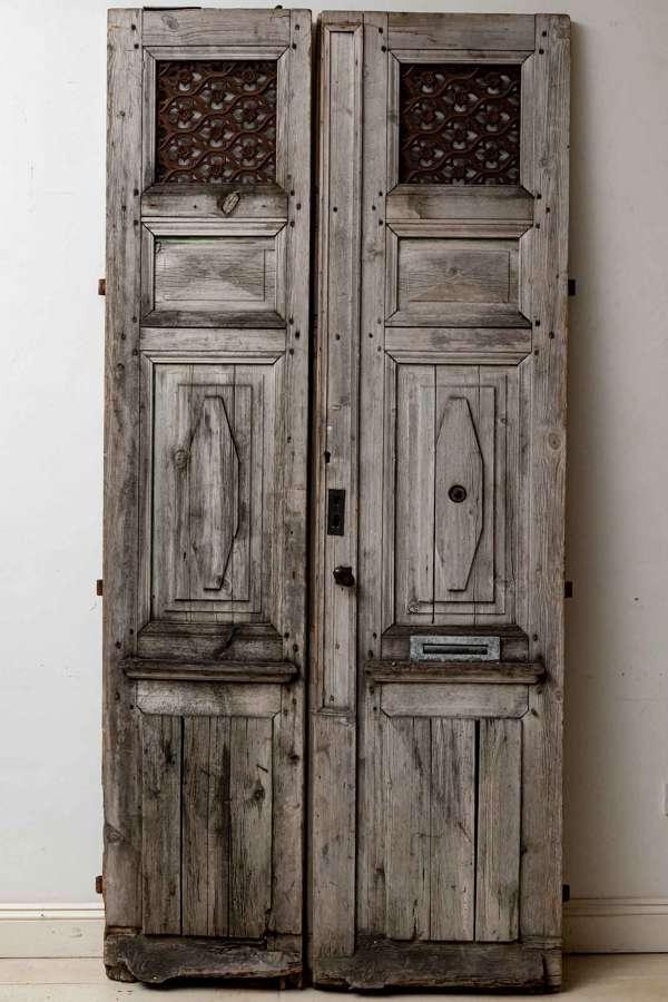 French C19th, pair of wood & metal doors