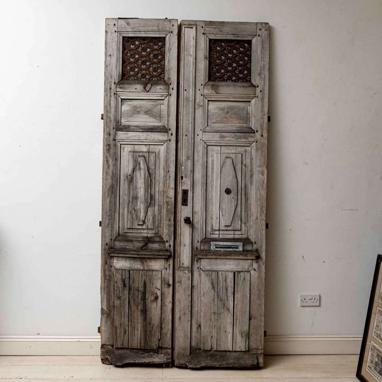 French C19th, pair of wood & metal doors