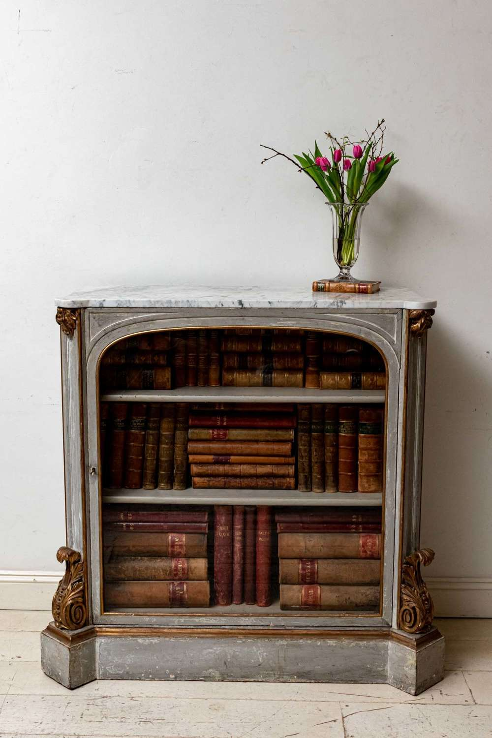C19th painted glazed french Console/Cabinet with marble top
