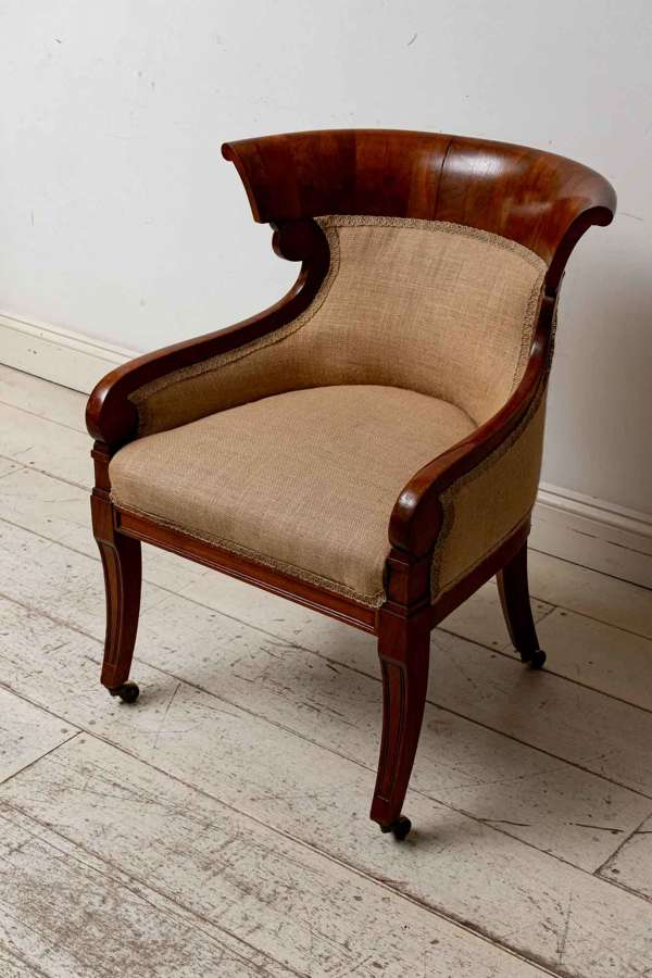 English C19th mahogany Library chair, Empire style, wonderful shape
