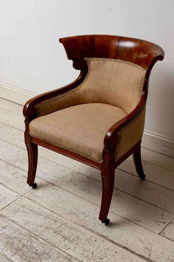 English C19th mahogany Library chair, Empire style, wonderful shape