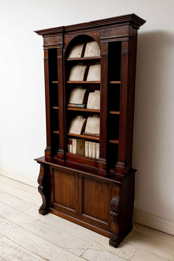C19th french mahogany bookcase converted from gun cabinet