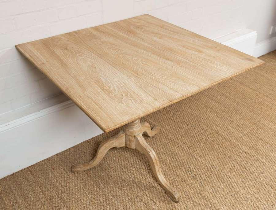 C18th swedish square elm table on tripod base