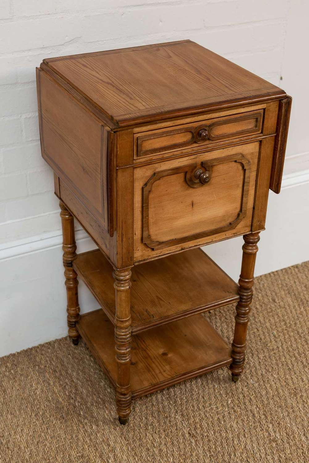 French bedside table with side flaps and under tier
