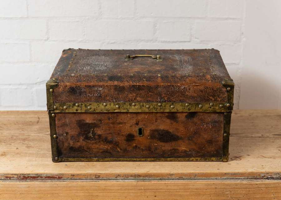 19thc swedish brass bound leather document box