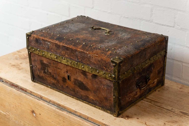 19thc swedish brass bound leather document box