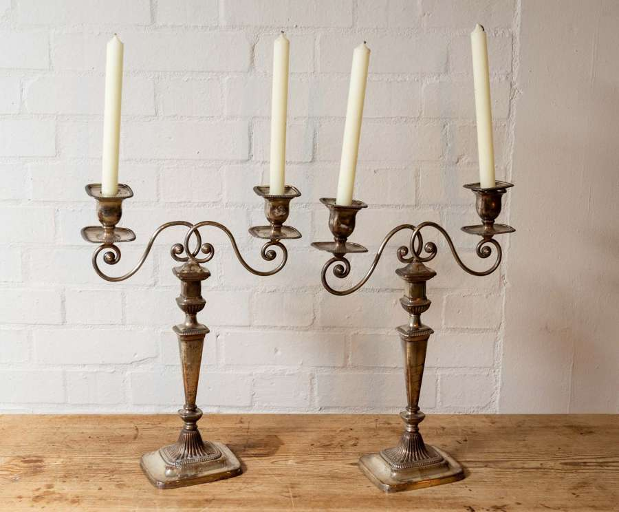Pair of 18thc Sheffield plate candelabra