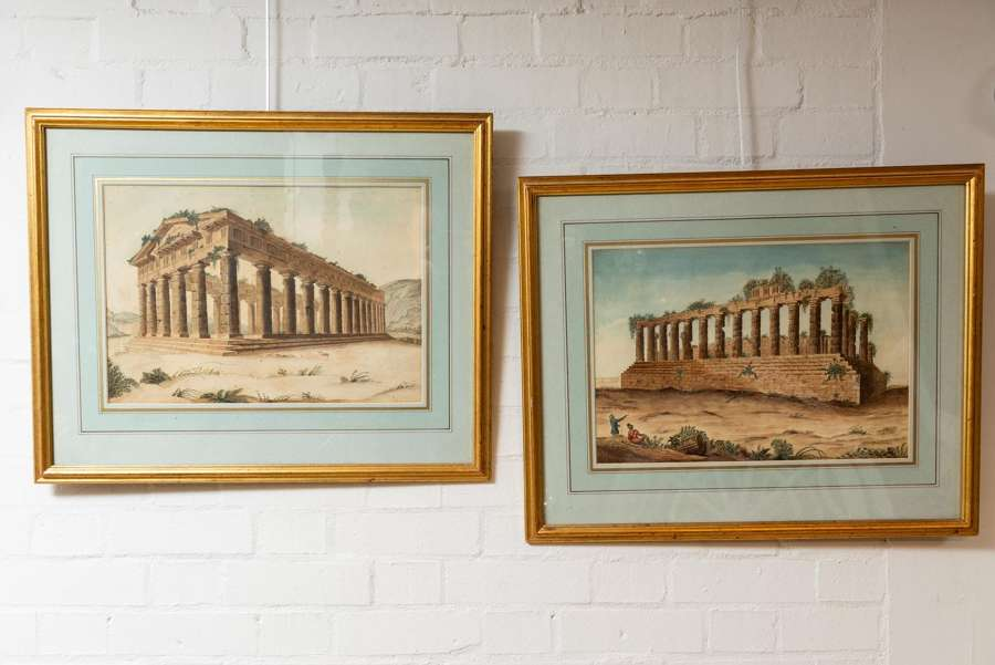 19thc pair of 'Grand Tour' watercolours