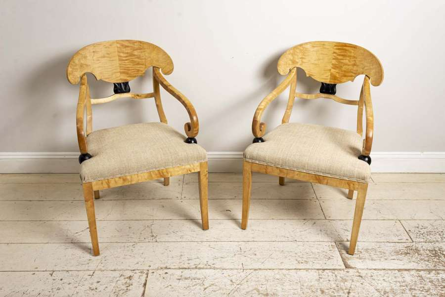 19th century pair of large Swedish birch side chairs