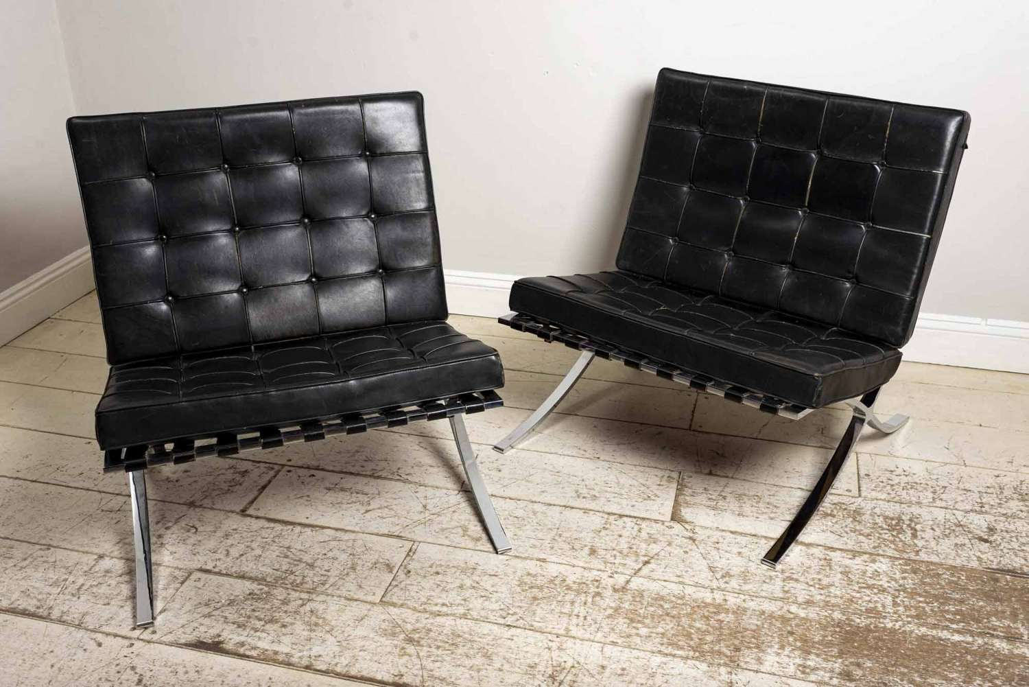 1950's Ludwig Mies Van Der Rohe pair of Leather chairs
