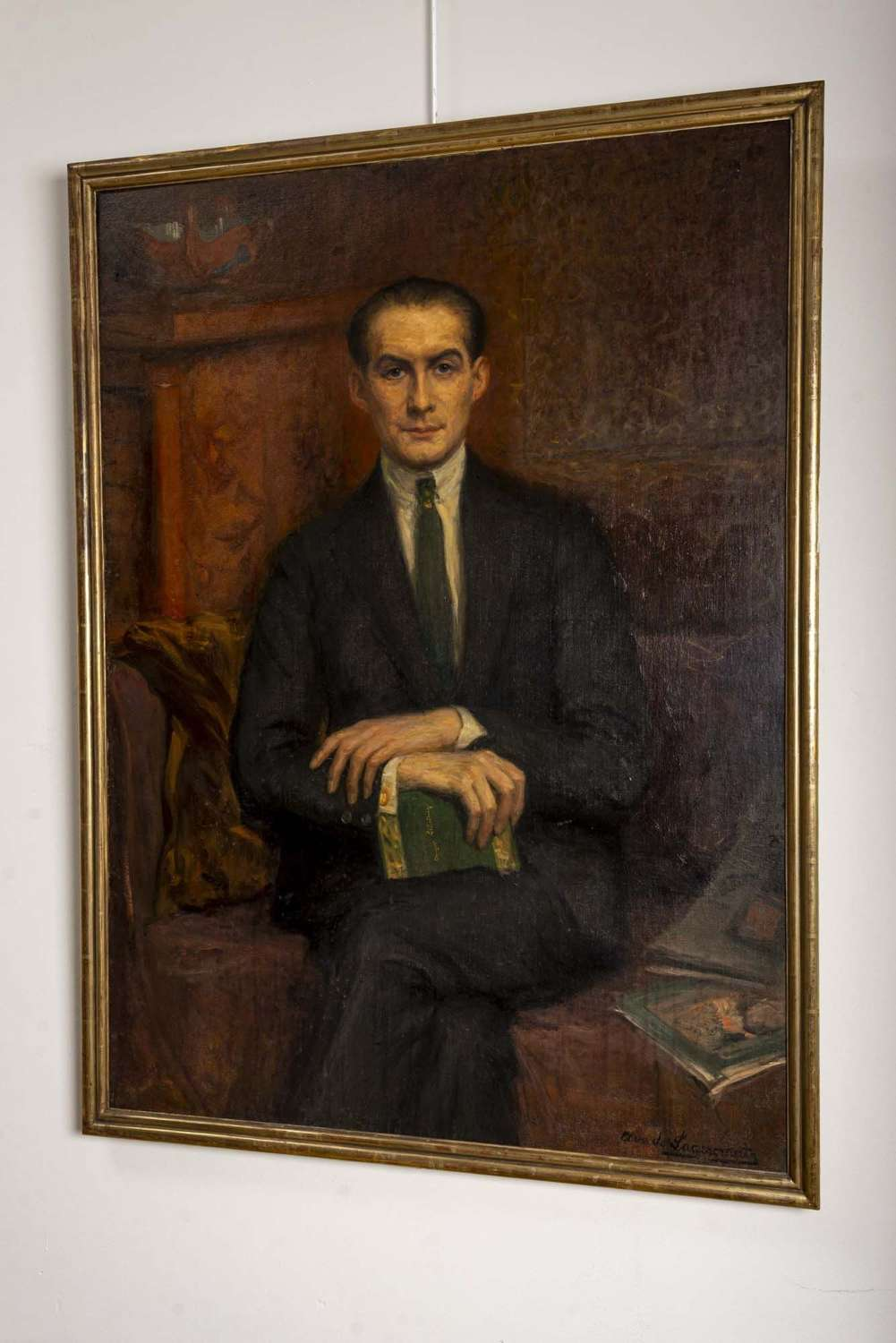 1920's large framed oil on canvas of Hans Alin