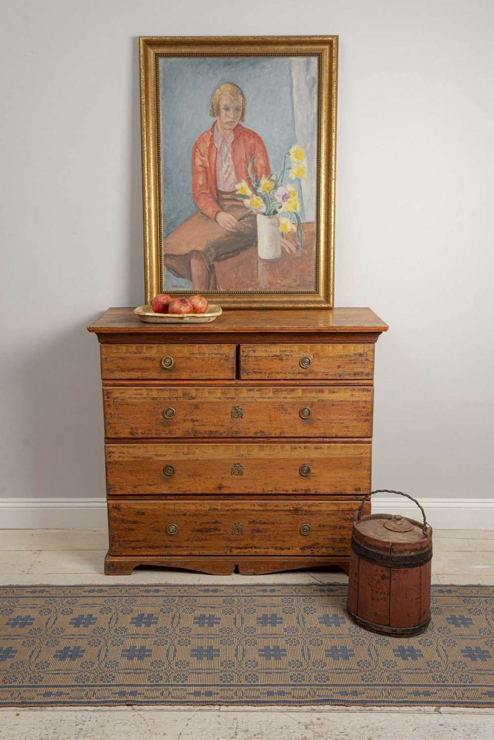 C18th Swedish country commode with original paint
